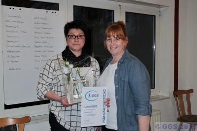 Sabine Mölter erhält Dankesurkunde des Vereins